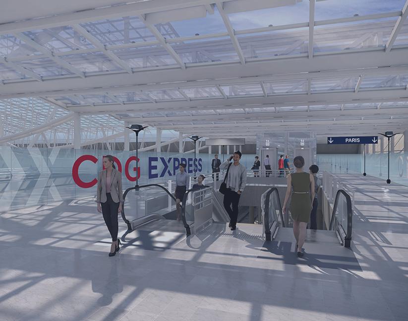 sortie de la gare rapide CDG Express